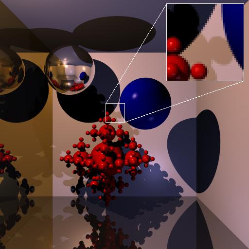 64 rays per pixel